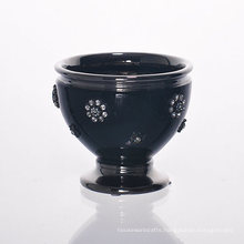 Diamond Decoration Lantern Black Ceramic Cup for Candle Holder