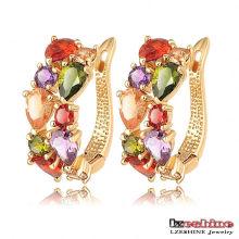 Multi-Color Cubic Zirconia Huggie Earrings for Women (CER0143)