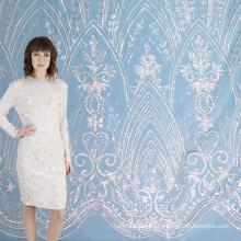Tela de encaje de tul de lentejuelas transparente para vestido de novia