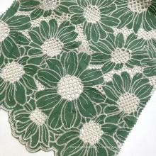 Nouveau design 100% coton vert tournesol tissé popeline guipure dentelle oeillet broderie tissu