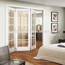 Blanco helado ventana vidrio plegables, puerta Interior de vidrio francés