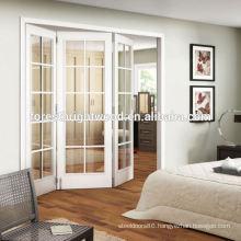White Frosted Window Glass Bifold Door, Interior Glass French Door