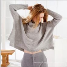 printemps femmes col haut tricot lâche pull en cachemire