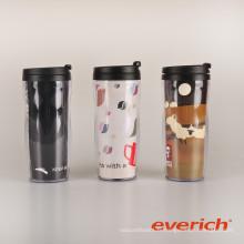 Tasse en plastique à double paroi chaude avec insert en papier