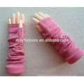 2016 new design knitted free size elbow length pink winter fingerless 100% cashmere gloves wholesale