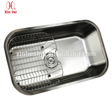 Durable hot sale stainless steel USA apartment size undermount single bowl kitchen sink with grid optional