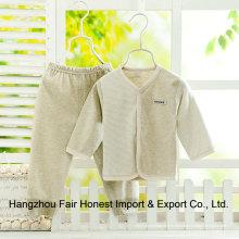 Pantalones de algodón orgánico y blusa de ropa interior 2 piezas para bebés de 0-12 meses