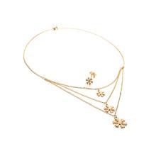 Mulheres Jóias Set Snowflake Multilayer Necklace