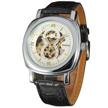 elegant mechanical watch with small dial leather band
