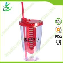 Tumbler de Infusión de Fruta de 16oz sin BPA con Paja
