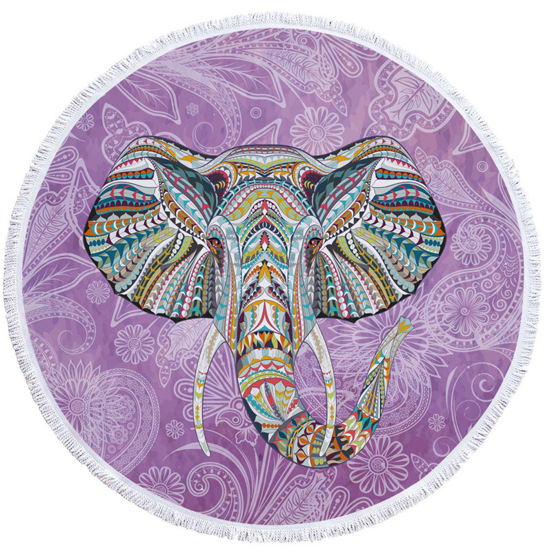 Groovy Elephants Beach Towels Round