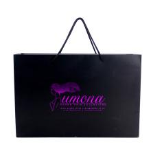Luxury Custom Matte Black Hot Stamping Paper Bag