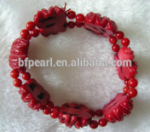 "wholesale 7"" 15-18mm red round and carved natural coral stone bracelet jewelry"