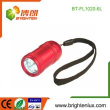 Fabrik Großhandels2 * CR2032 Knopf-Zelle benutzte preiswerte Aluminiummetall scherzt kleine 6 geführte Taschenlampe mit Handgelenkbügel