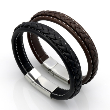 Woven Leather Terbuka Cuff Balut Magnet Buckle Gelang