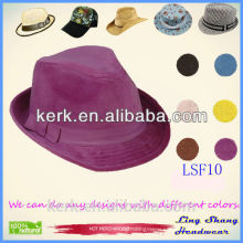 LSF10 High Quality Bulk Sale Custom Made 100% Wool Felt Mens Women Short Brim Fedora Hat Wholesale