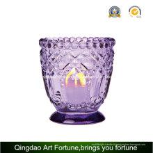 Bougeoir en verre avec décor en pointillés pour bougie chauffe-plat bougie