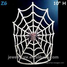 Atacado grande cristal assustador Halloween aranha coroa com máscara de Web de aranha