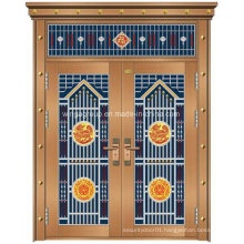 Special Styple Entrance Security Copper Metal Iron Glass Door (W-GB-11)