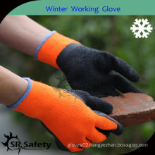 SRSAFETY 7G Terry lined thermal gloves with orange crinkle latex