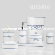 Decal Rope Porcelain Bathroom Set (WBC0819A)