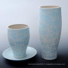 Vase à fleurs en marbrure marbré pour jardin artificiel (A1166)