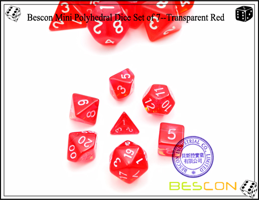Bescon Mini Polyhedral Dice Set of 7--Transparent Red-1