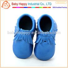 Lustige blaue Pre-Walker machen Baby Schuhe weichen einzigen Leder Kleinkind Schuhe