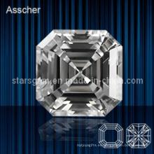 Hermoso blanco Asscher Cut Zirconia cúbicos de piedras preciosas