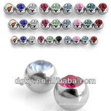 316L Surgical Steel Externally Threaded Press Fit Gem Balls