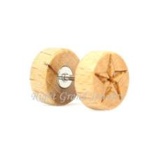 Holz Ohrringe Großhandel 316L Stahl Stern mit Fake Plugs