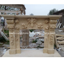 Hot Sale Luxury Marble Fireplace Fleurs sculptées (SY-MF218)