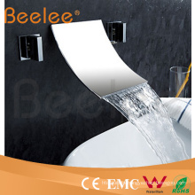 in-Wall Mounted Double Handle Wash Basin Water Mixer Tap with Waterfall Spout
