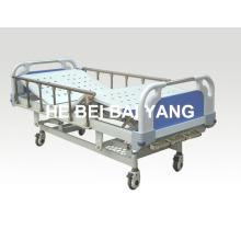 (A-47) Lit d'hôpital manuel à trois fonctions mobile avec tête de lit ABS