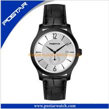 Elegante relógio de quartzo com pulseira de couro genuíno para senhoras