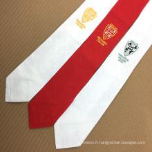 Cravate brodée faite sur commande de soie d'étudiant de logo de promotion d'étudiant de lycée