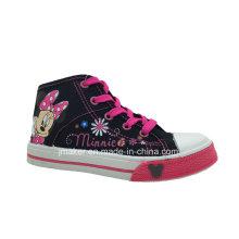 Zapatillas de deporte de los zapatos de los altos tobillo de la historieta de la moda (X166-S & B)