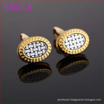 Fashion Gold Plating Dollar Pattern of Elliptical Cufflinks L51928