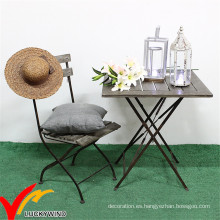 Antique muebles de jardín al aire libre de madera Metal de madera silla de mesa plegable