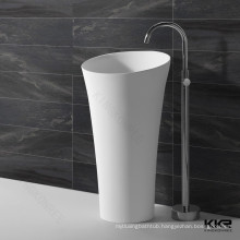 oval shape stone pedestal bathroom sinks / freestanding wash basins