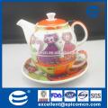 Fabricante por atacado do teste padrão do cartoon porcelana de cerâmica um jogo do chá da pessoa em um