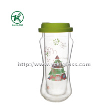 Double Wall Glass Bottle with Lid (7*8*17.5 390ml)