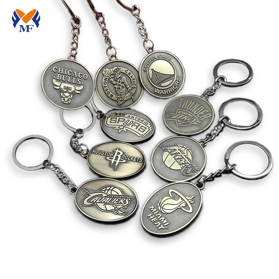 Metal Basketball Keychain