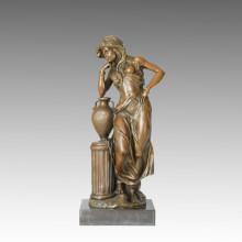 Escultura de bronce clásico figura señora decoración de latón estatua TPE-034