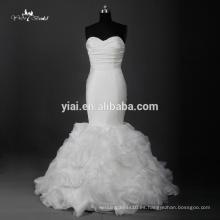 RQ116 marfil rizado plisado satén alibaba sirena vestido de novia 2016