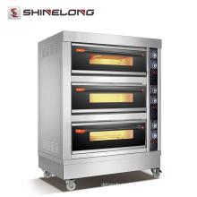 Equipo de cocina de hotel comercial certificado ShineLong FBK-306DE CE 3 Cubiertas de horno de gas de panadería