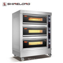 CE certificated ShineLong FBK-306DE commercial hotel kitchen equipment 3 Decks bakery gas oven