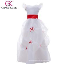 Grace Karin blanco vestido largo de las niñas de la flor últimos diseños del vestido para las muchachas de flor CL4488