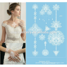 Newest design white lace body temporary tattoo sticker for hands j019