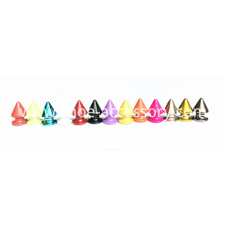 Colorized Conical Metal Screw Back Spike Studs